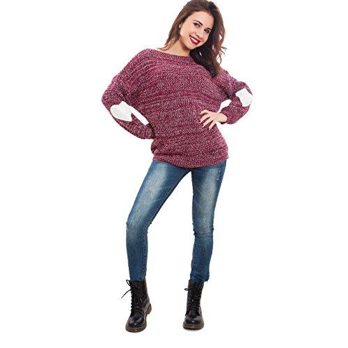 Toocool - Maglione donna pullover melange toppe cuori caldo pull inverno nuovo GI-17051 Bordeaux