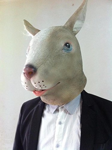 inchen Kopf Maske Long Ear Grau Tier Sicherheit Lebensmittel Grad Latex Hochzeitsfotografie Show Requisiten (Herr Nudel-halloween-kostüm)