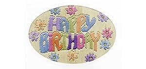 Derwentwater Designs Carte d'anniversaire Inscription Happy Birthday Kit de broderie au point Long
