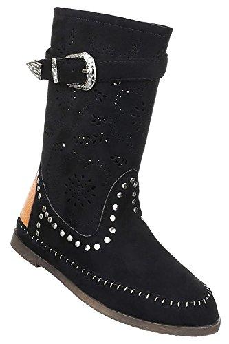 Damen Stiefel Schuhe Perforierte Boots Schwarz Gelb Orange 36 37 38 39 40  41 Schwarz 344b4fc340