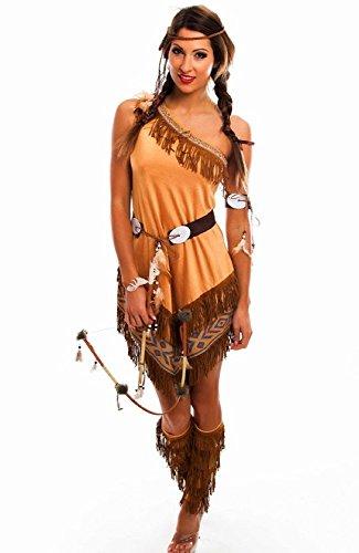 Kostüm Pocahontas Für Erwachsene - shoperama Damen-Kostüm Indianerin asymmetrisch mit Fransen Squaw Western, Größe:M