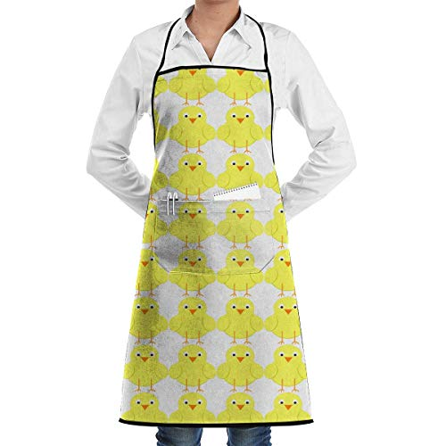 fregrthtg Comfortable Aprons with Convenient Pocket, Easter Chick Bib Apron for Chefs