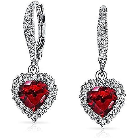 Bling Jewelry Garnet colore CZ del cuore ciondola gli orecchini Leverback