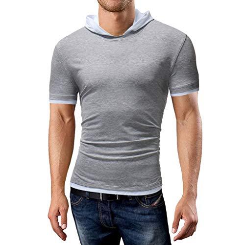 Fitted Dress Shirt (Nyuiuo Sommersport Top Herren Freizeit Freizeit Hoodie Baumwollt-stück beiläufiges unteres oberes Blusen-dünnes Hemd Herren Sommer Einfarbig Patchwork Kontrast Schlank Training Freizeit Top T-Shirt)