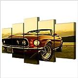 Karen Max Modular Décoration murale peintures HD Imprimé moderne de voiture Posters Cadre 5pièces 1969Ford Mustang images sur toile Home Decor Salon (Taille 2: 12x 16inchx2,12X 24inchx2,12X 32inchx1Unframe)