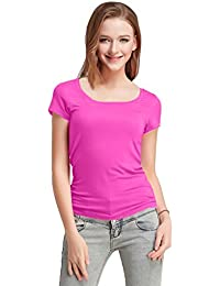 Fashion Line Premium Quality Stylish Printed Round Neck T Shirts For Women _Color : Dark Pink _Material : Cotton (Pack of 1 )