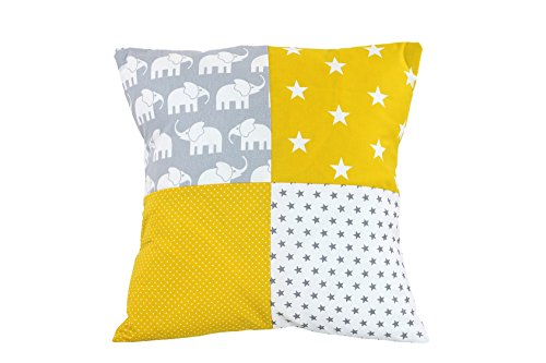Stoff Kissenbezug (ULLENBOOM ® Patchwork Kissenbezug Elefant Gelb (40x40 cm Kissenhülle, 100% Baumwolle, ideal als Kinderzimmer Dekokissen, Motiv: Elefanten, Sterne))