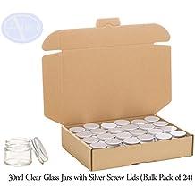 Pack de 24 tarros con tapa plateada - Cristal transparente - 30 ml