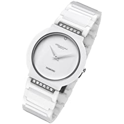 Cirros Milan Luxury Unisex White Ceramic Watch with Diamond Model 2280GW
