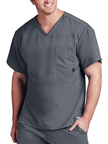 Barco Grey's Anatomy Herren Top mit V-Ausschnitt, 2 Taschen - Grau - X-Groß - Barco Scrubs
