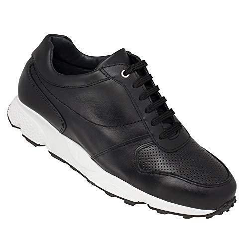 Zapatos de Hombre con Alzas Que Aumentan Altura hasta 7 cm. Fabricados EN Piel. Modelo Lyon. (44, Negro)
