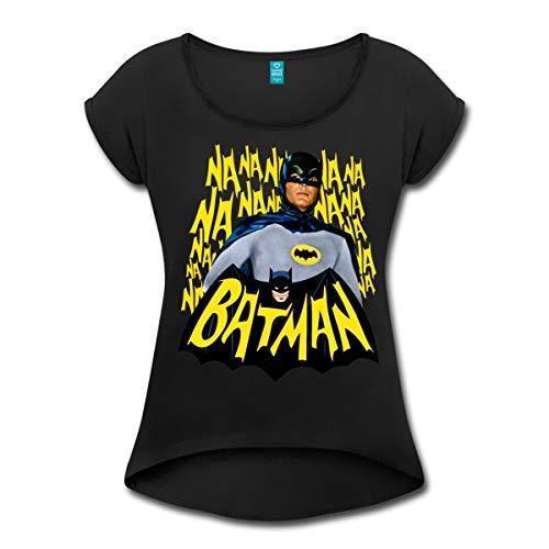 Spreadshirt DC Comics Batman Retro Schauspieler Titelsong Frauen T-Shirt mit gerollten Ärmeln, XL, Schwarz