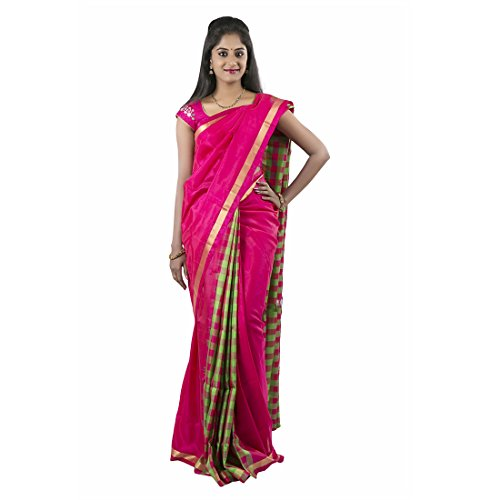 ABHISILKS Uppada Soft Silk Pink and Green Checks Patli Pallu Style Zari...