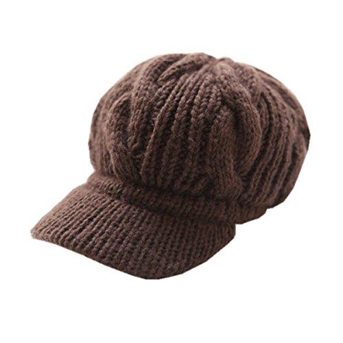 Preisvergleich Produktbild Kingstons 1braun Frauen Mädchen Slouchy Knit Beanie Crochet Rib Hat Krempe Schiebermütze Cap