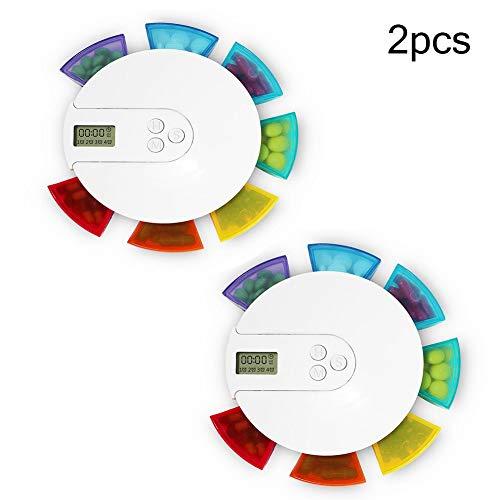 Automatische Medikamenten-dispenser (Klein Mini Pillendose,Elektronische Pillenbox,Automatische Pille Dispenser Sieben Gitter Bunte Intelligente Elektronische Pillenbox Tragbarer Pille Organizer)