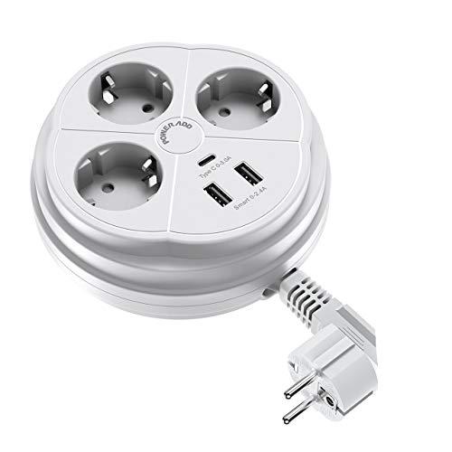 POWERADD Multiprises Parasurtenseur Parafoudre USB C 3 Prises électriques avec 2 Ports USB et 1 Port USB C, 3250W, Cordon Rétractable 1.3 mètres