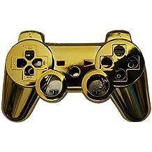 OSTENT Kit di pulsanti di alloggiamento della scatola di shell per controller completo compatibile per controller Sony PS3 Bluetooth - colore oro