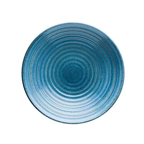 Bol - Européenne 8 pouces fil peu profond plat bol bol ménage rond gris en céramique bol de riz bleu tableware (Couleur : Bleu)