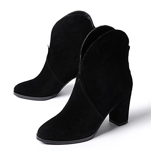 autunno nudo di tacchi alti stivali/Stivali in pelle nabuk spessa/ hollow e stivaletti di Martin/ scarpe casual-A Lunghezza