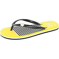 Chanclas a Rayas para Mujer, QinMM Zapatos de Baño Verano de Sandalias Vestir Bohemia de Playa (38, Amarillo)