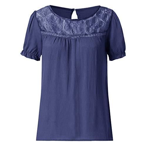 (CAOQAO Unifarbene Runde Spitze Der Patchwork-Hemdbluse Der Frauen BeiläUfige Art Und Weise)