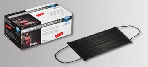 Unigloves Black Dragon Mundschutz Schwarz 4-lagig 2x50 Stück STAUBMASKEN / GESICHTSMASKEN