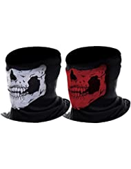 eBoot Tour de cou Masque Tête de Moto Ghost de Skeleton Skull (Noir&Rouge, 2 Pack)