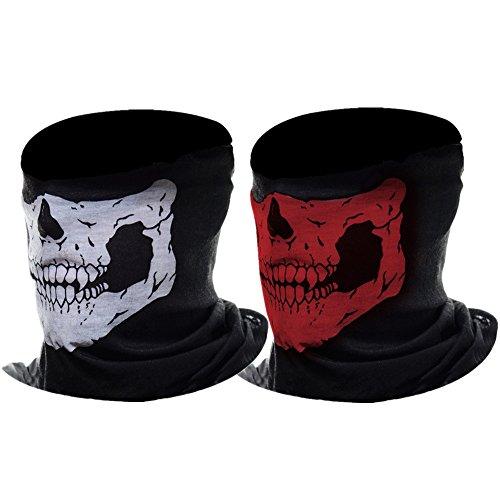 eBoot Halber Schädel Motorrad Gesichtsmaske Rohr Maske, 2 Stücke