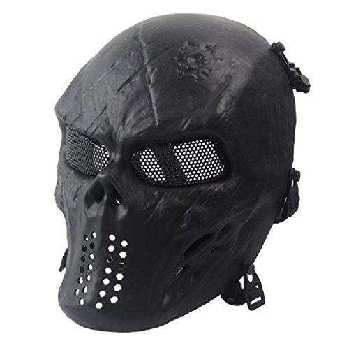 Covermason Halloween-Maske Airsoft Paintball Voll Gesicht Schädel-Skeleton CS Maske Tactical Military Mask (Schwarz)