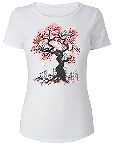 Forest Spirits And Pink Tree Design Women's T-Shirt Medium