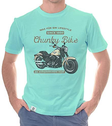 Shirtdepartment - Herren T-Shirt - Chunky Bike - Since 1990 türkis-Hellbraun XL