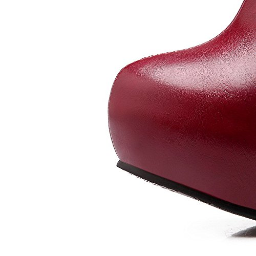 VogueZone009 Donna Tirare Tacco Alto Puro Bassa Altezza Stivali Rosso