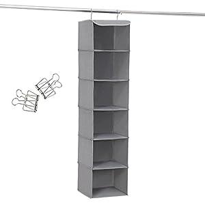 SONGMICS Hängeregal, Hängeaufbewahrung mit 6 Fächern, innen mit Metallrahmen, 2 Klammern gratis, für Kleiderschränke in unterschiedlichen Höhen 30 x 130 x 30 cm (B x H x T) Grau RCH06G