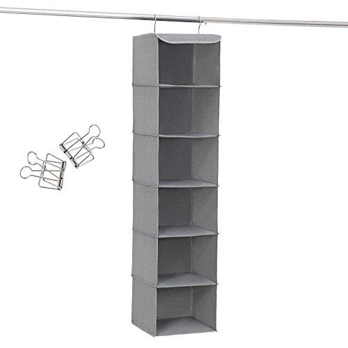 SONGMICS Hängeaufbewahrung, Hängeregal mit 6 Fächern, innen mit Metallrahmen, 2 Klammern gratis, für Kleiderschränke in unterschiedlichen Höhen, grau, 30 x 130 x 30...