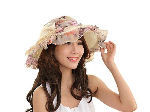 Butterme été Derby chapeau modèle floral couche de mousseline de large bord a sunscreen chapeau de soleil de jardin mariage église chapeau de bord gaze pour les femmes dames Beige