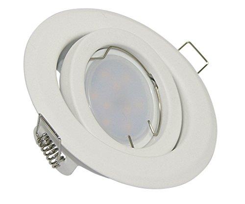 5W Einbaustrahler Farbe: Weiss-Matt - schwenkbar - inkl. GU10 230V 5Watt LED Leuchtmittel warmweiss...