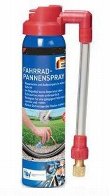 Fahrrad-Pannenspray / Fahrradpannenspray für Fahrradreifen - Alle gängigen Ventile - 75 ml (Made in Germany)