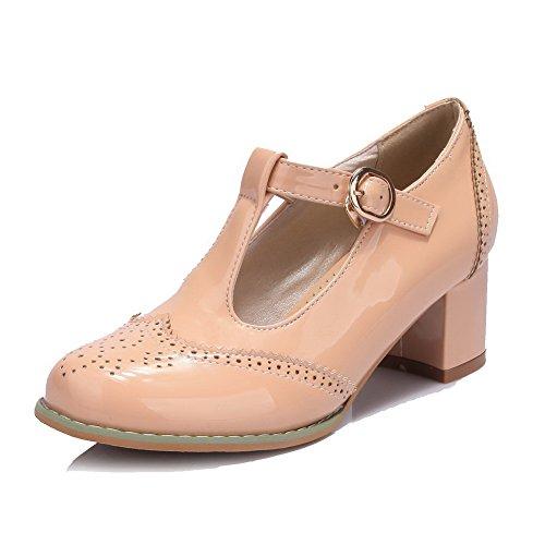 VogueZone009 Damen Rund Zehe Schnalle PU Leder Rein Pumps Schuhe, Aprikosen Farbe, 43