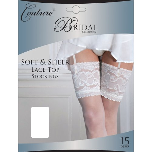 Couture - calze da reggicalze velate da sposa con balza in pizzo (l) (bianco)