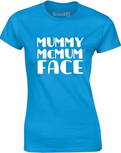 Brand88 - Mummy McMum Face, Gedruckt Frauen T-Shirt Türkis/Weiß