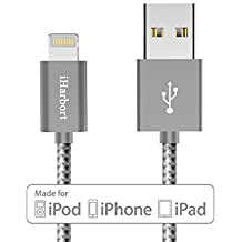 iHarbort Cable Lightning - Apple cable de datos de USB cable lightning alambre trenzado cable [Apple MFi Certificado], (alambre trenzado, gris)