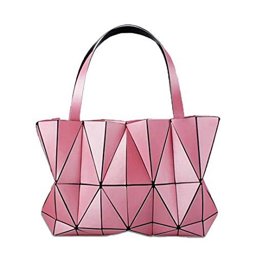 en Damen Plain Folding Handtaschen Tasche Diamant Geometrie Totes Tasche Für Frauen Messenger Bags Pink ()