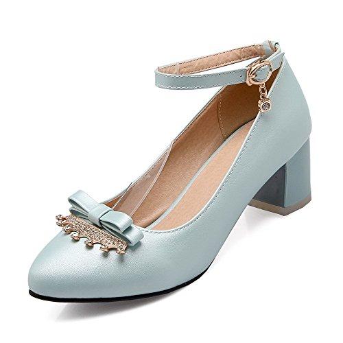 VogueZone009 Femme à Talon Correct Couleur Unie Boucle Fermeture DOrteil Pointu Chaussures Légeres Bleu