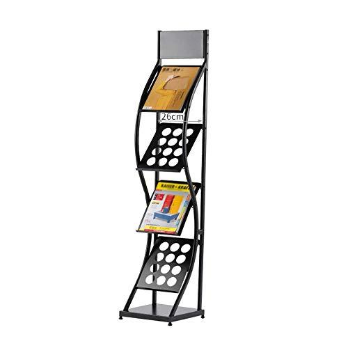 W-j-s w-h scaffale for ufficio, portariviste, scuola, brochure for libri, espositore, 4 strati, ferro, nero, piano, stile verticale a+++ (size : 30x30x142cm)