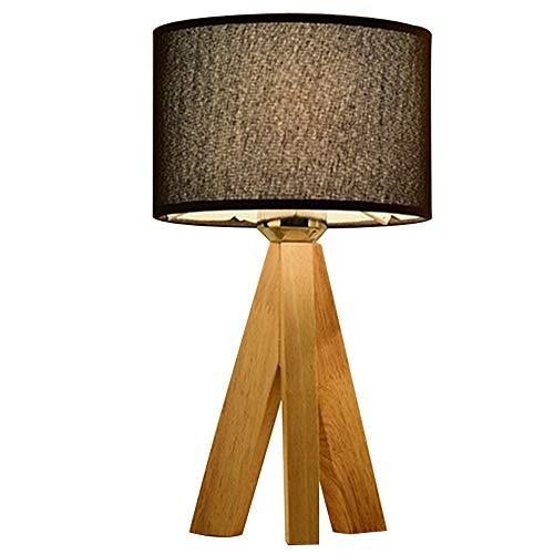 Lampes de table Trépied en bois massif protection des yeux à LED en métal Lampe de bureau Lampe de chevet créative Simple blanc Tissu naturel abat-jour Éclairage intérieur Bureau décoration,Black