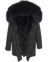 Lea Marie Damen Luxury Parka XXL Kragen aus 100% ECHTPELZ ECHTFELL Jacke Mantel Fuchspelz Innenfutter