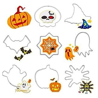 JUNGEN® 8PCS Moldes para Galletas Molde de Halloween Molde de Acero Inoxidable para Cortadores de Galletas Hornear Fondant Decoración para Tartas