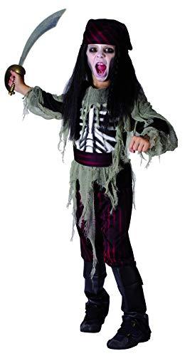 Junge Verwegene Kostüm Piraten - KULTFAKTOR GmbH Geisterpirat Halloween Kinderkostüm rot-schwarz-beige 122/134 (7-9 Jahre)