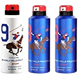 Beverly Hills Polo Club One No.9 And Two No.8 Deodorant Combo Pack For Men(Pack Of 3)
