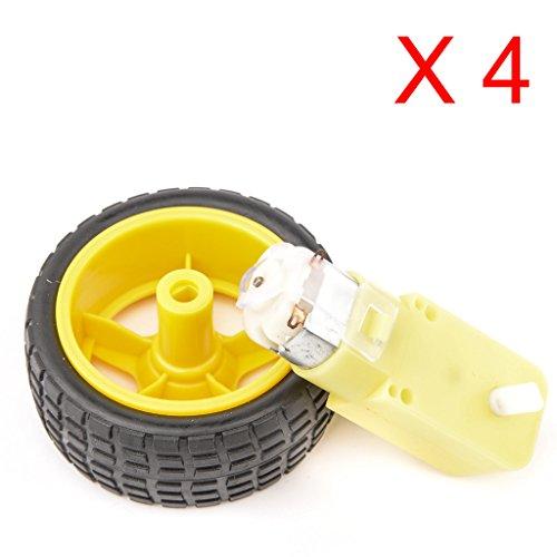 DAOKAI® 4PCS Smart Car Robot Kunststoff, Reifen, Rad mit 3-6V DC Getriebemotor für Arduino